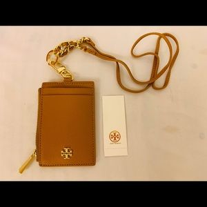 Tory Burch Leather Lanyard ID Credit Card Holder